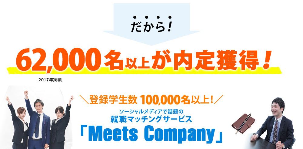 だから!3,000名以上が内定獲得!登録学生数 100,000名以上! ソーシャルメディアで話題の就職マッチングサービス「Meets Company」