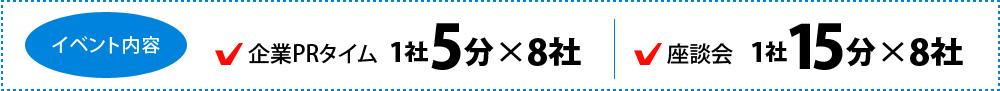 イベントの内容 企業PRタイム 1社5分x8社 座談会 1社15分x8社